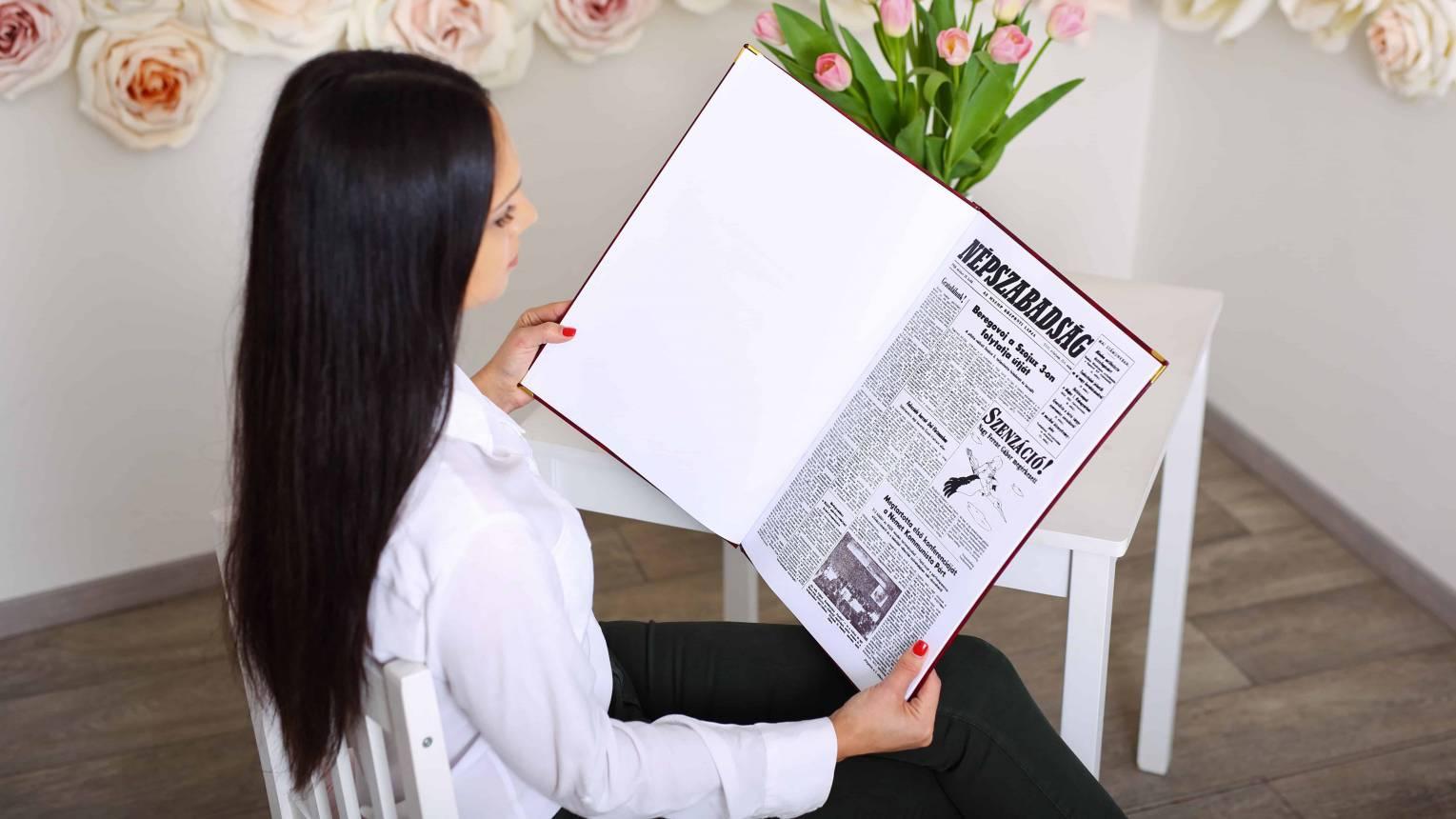 12 oldalas bőrkötéses újság Évfordulóra a Nagy Napról akar 2 munkanap alatt