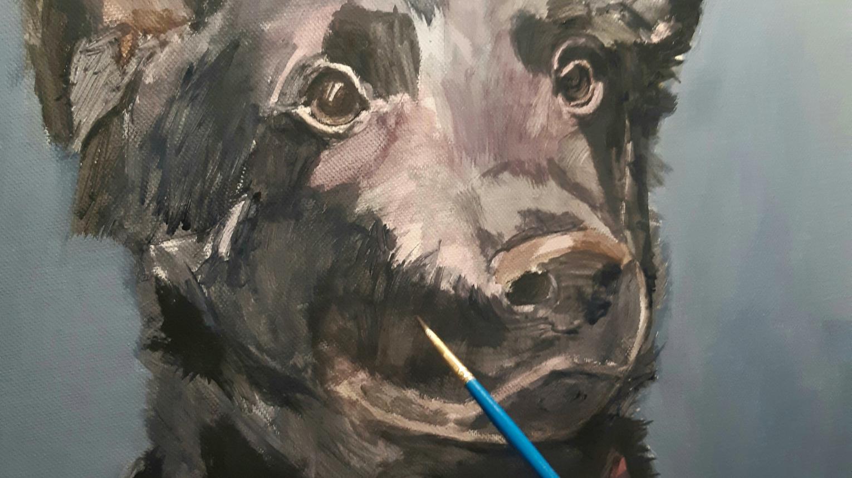 Festőművész által készített festményt ajándékba a kedvencéről