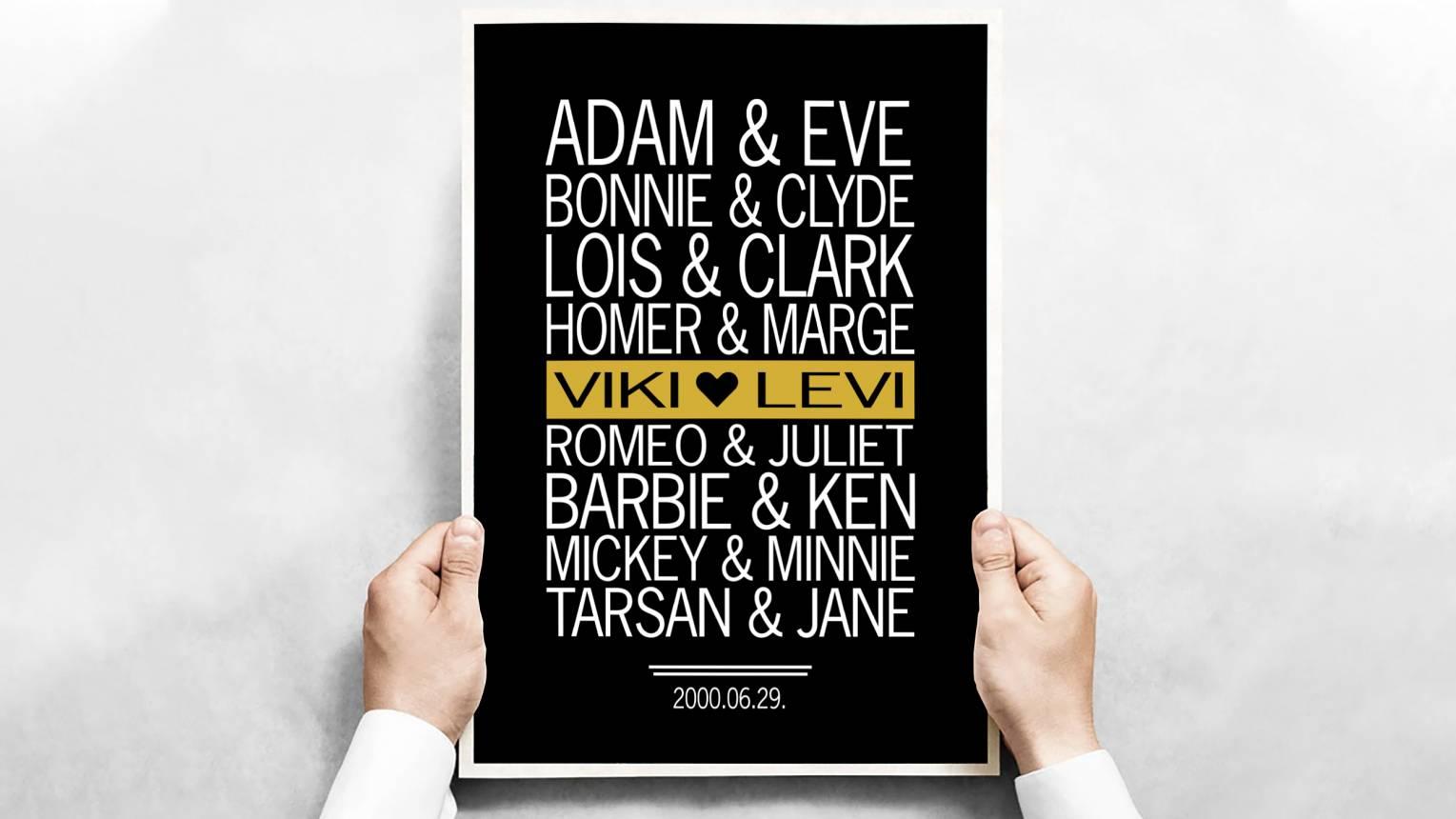 Nagy Szerelmesek plakát kedvesednek ajándékba